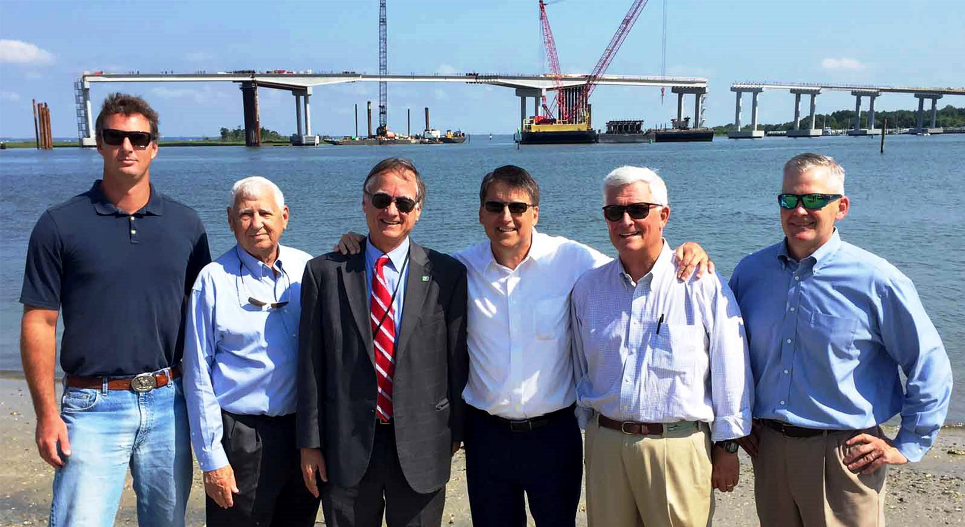 North Carolina Governor Surveys Conti's Gallants Channel Bridge