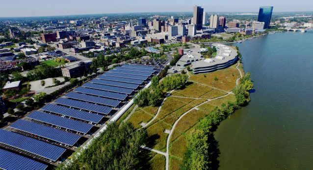 aerial view solar panels